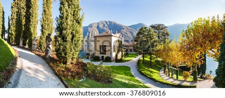 Panorama of the park of Villa Balbianello in Lenno, Lake Como, Italy - stock photo