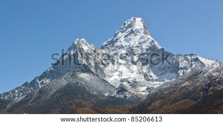 Panorama of the peak Ama Dablam - Nepal - stock photo