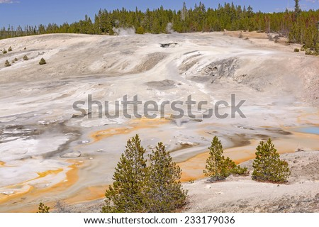 Panorama of the Porcelain Basin in Yellowstone National Park - stock photo