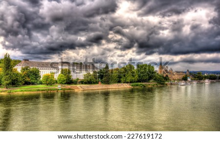 Panorama of The Rhine in Koblenz, Germany - stock photo