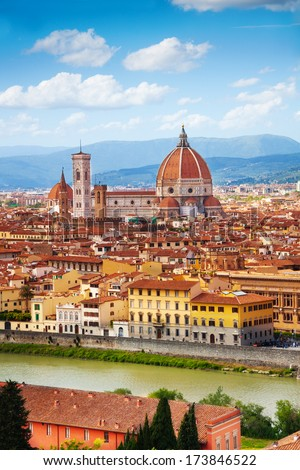 Panorama of the river and famous basilica in Florence, Italy  - stock photo