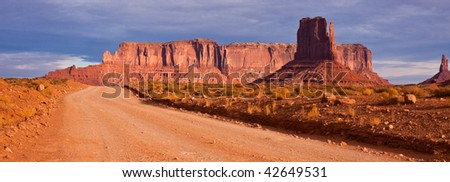 Panorama of the Road through Monument Valley Tribal Park, Arizona.
