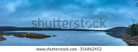 Panorama of the Saugatuck Reservoir, Connecticut - stock photo