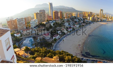 Panorama of the sea near the coast of Benidorm, at sunset (Spain) - stock photo