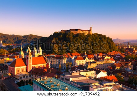 Panorama of the Slovenian capital Ljubljana at sunset - stock photo