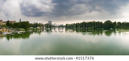 Panorama of the so called â??old Danubeâ? (alte Donau) in the heart of Vienna. - stock photo