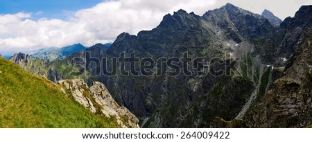 Panorama of the Tatras from the path to the pass at Chlopkiem