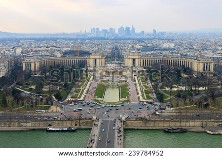 Panorama of the Trocadero and La Defense from the Eiffel Tower, Paris, France - stock photo