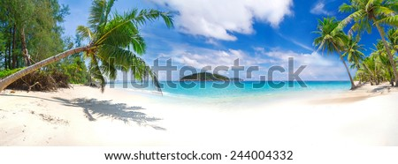 Panorama of the tropical beach in Thailand - stock photo