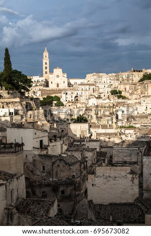 panorama of the unseco world heritage city matera, Italy