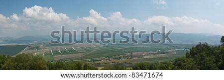 Panorama of the valley with vineyards in the Crimea. Ukraine Balaklava - stock photo