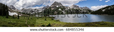 Panorama of the vast Canadian Rockies.  Views of the mountains & lakes located in Peter Lougheed Provincial Park, Alberta.