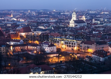 Panorama of the Vilnius Old Town at dawn time - stock photo