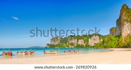 Panorama of the west Railay beach - stock photo