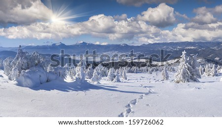Panorama of the winter mountains - stock photo