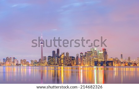 Panorama of Toronto Skyline at dusk, Ontario, Canada - stock photo