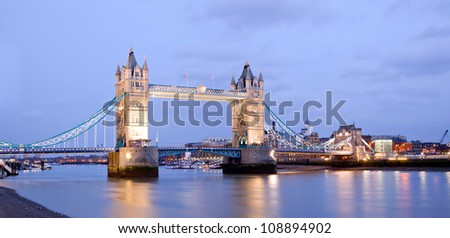 Panorama of Tower Bridge at dusk London England UK - stock photo