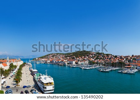Panorama of Trogir in Croatia - architecture background - stock photo