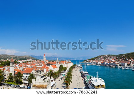 Panorama of Trogir in Croatia - architecture background - stock photo