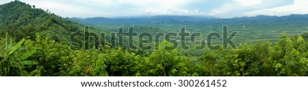 Panorama of tropical forest on Mountain Range,Thailand  - stock photo