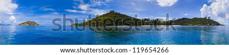 Panorama of tropical island at Seychelles - nature background - stock photo