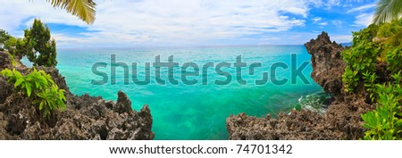 Panorama of tropical lagoon. Bohol. Philippines - stock photo