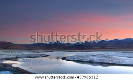 Panorama of Tso Kar salt water lake at sunset in Ladakh, Jammu and Kashmir state, North India
