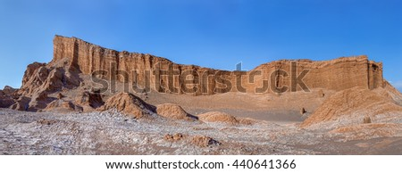 Panorama of unique geological formations in a lifeless place called the moon Valley in Atacama Desert - Chile, South America - stock photo