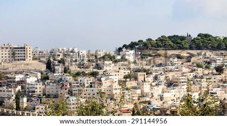 Panorama of urban neighborhoods of Jerusalem, Israel - stock photo