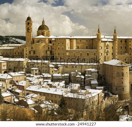 panorama of Urbino in winter - stock photo