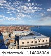 Panorama of Venice with Doges palace in Italy - stock photo