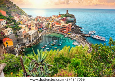 Panorama of Vernazza and suspended garden,Cinque Terre National Park,Liguria,Italy,Europe - stock photo