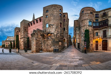 Panorama of Wall and Gate of Roman City Barcino and Placa Nova in the Morning, Barcelona, Catalonia - stock photo