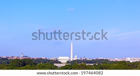 Panorama of Washington DC in summer. Lincoln Memorial, Monument and United States Capitol building.