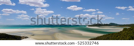 Panorama of Whitehaven Beach, Queensland in Australia