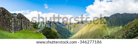 Panorama of Winayhuayna  with Adean moutain on Inca Trail with Urubamba river, Machu Picchu, Cusco, Peru - stock photo