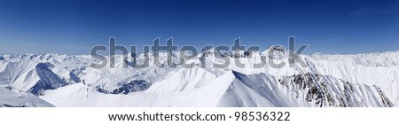 Panorama of winter mountains. Caucasus Mountains, Georgia, region Gudauri. View from ski slope - stock photo