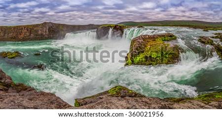 Panorama of wonderful Godafoss waterfall in Iceland - stock photo