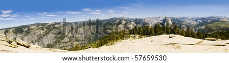 Panorama of Yosemite and the sierra Nevadas from Sentinel Dome - stock photo