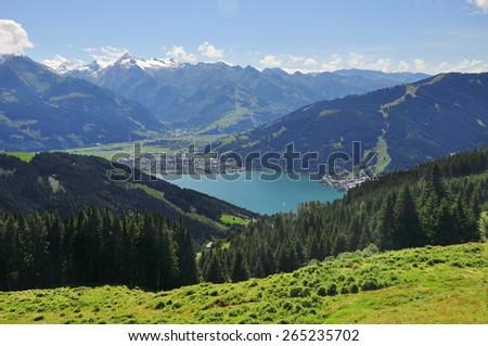 Panorama of Zell am See, Salzburger Land, Salzburg, Austria - stock photo