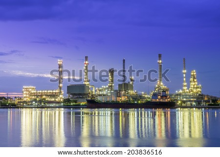 Panorama Oil refinery along the river at Dusk (Bangkok, Thailand)