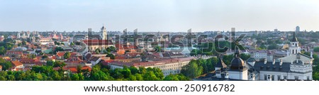 Panorama old town of Vilnius. Vilnius university, St. John's church, belfry, Palace of the Grand Dukes of Lithuania, Cathedral. Aerial view - the capital of Lithuania. - stock photo