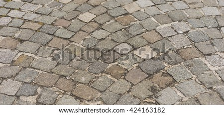 Panorama old  traditional european style cobblestone road texture background with granite blocks, stones and brickwork pattern - stock photo