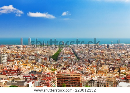 Panorama on  Seaport from Montjuc castle.Barcelona.Catalonia.Spain. - stock photo