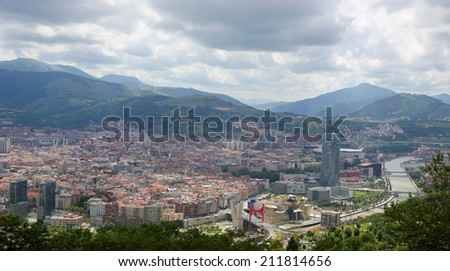 Panorama on the center of Bilbao, Basque country, Spain. - stock photo
