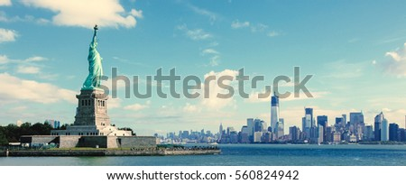 Panorama on the Statue of Liberty and the Skyline of Manhattan, New York City, United States