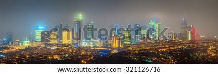Panorama os Istanbul and Bosporus at night, Turkey - stock photo