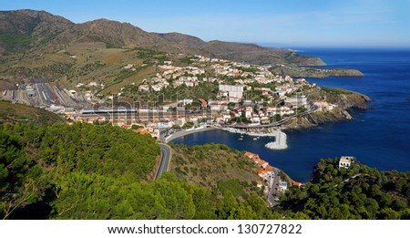 Panorama over the Mediterranean coast in south of France with the village of Cerbere, Vermilion coast, Roussillon, Pyrenees Orientales, France - stock photo