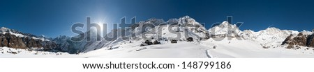 panorama photo of Anapurna Base Camp - stock photo