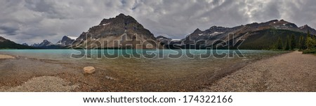 Panorama photo's of lakes in the great Canadian Rockies - stock photo